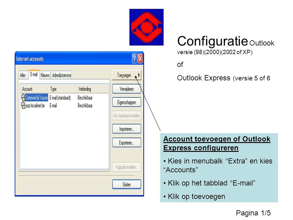 """Account toevoegen of Outlook Express configureren • Kies in menubalk """"Extra"""" en kies """"Accounts"""" • Klik op het tabblad """"E-mail"""" • Klik op toevoegen Con"""