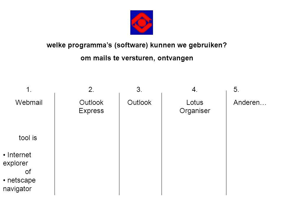 tool is • Internet explorer of • netscape navigator welke programma's (software) kunnen we gebruiken? om mails te versturen, ontvangen 1. Webmail 2. O