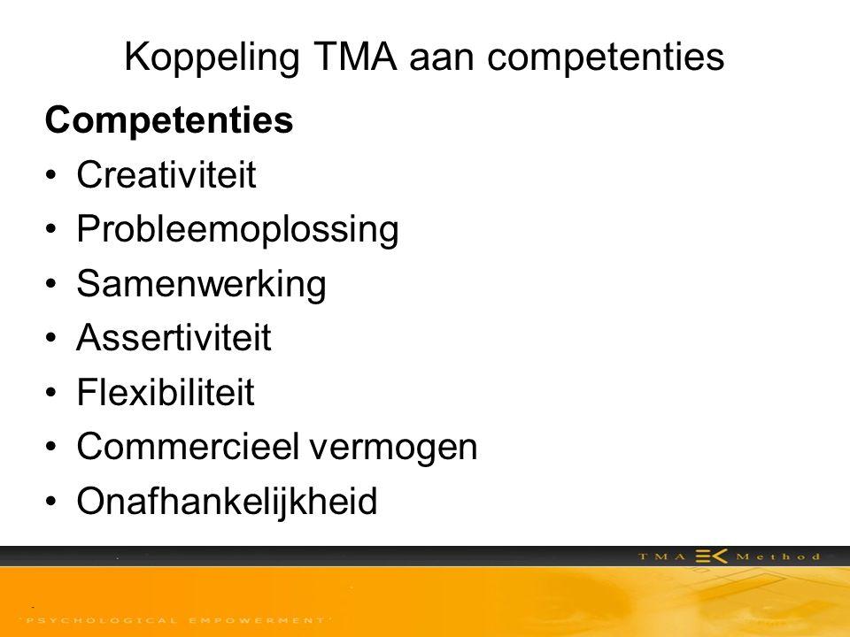 Koppeling TMA aan competenties Competenties •Creativiteit •Probleemoplossing •Samenwerking •Assertiviteit •Flexibiliteit •Commercieel vermogen •Onafha