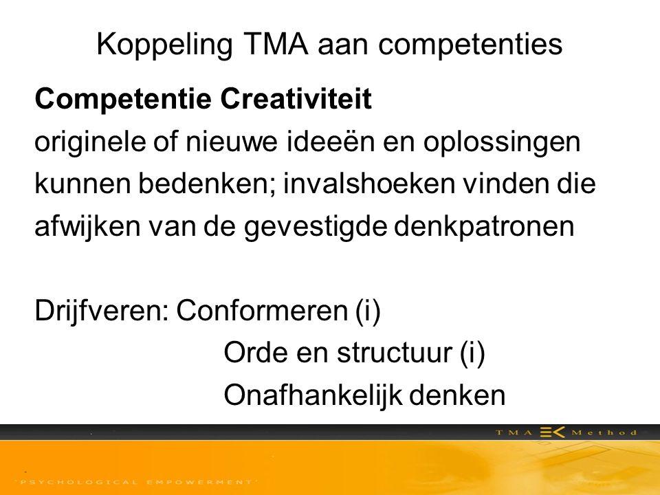 Koppeling TMA aan competenties Competentie Creativiteit originele of nieuwe ideeën en oplossingen kunnen bedenken; invalshoeken vinden die afwijken va