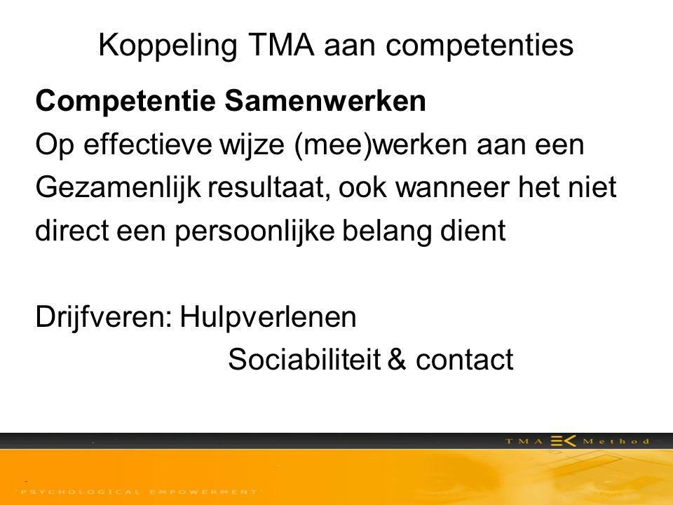 Koppeling TMA aan competenties Competentie Samenwerken Op effectieve wijze (mee)werken aan een Gezamenlijk resultaat, ook wanneer het niet direct een