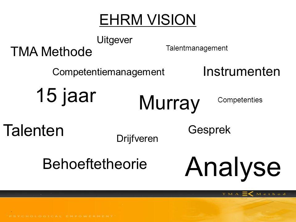 EHRM VISION Competentiemanagement TMA Methode Murray Behoeftetheorie Talenten Instrumenten Analyse Talentmanagement 15 jaar Uitgever Gesprek Drijfvere