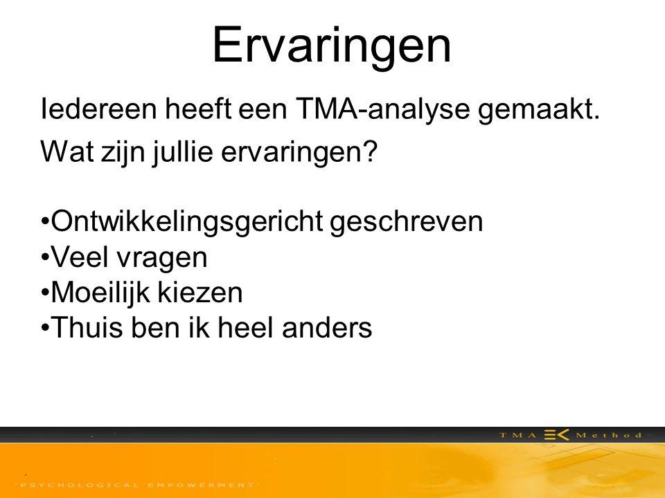 Ervaringen Iedereen heeft een TMA-analyse gemaakt. Wat zijn jullie ervaringen? •Ontwikkelingsgericht geschreven •Veel vragen •Moeilijk kiezen •Thuis b