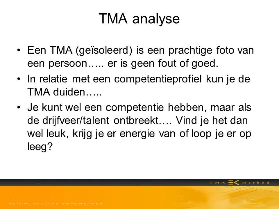 TMA analyse •Een TMA (geïsoleerd) is een prachtige foto van een persoon….. er is geen fout of goed. •In relatie met een competentieprofiel kun je de T