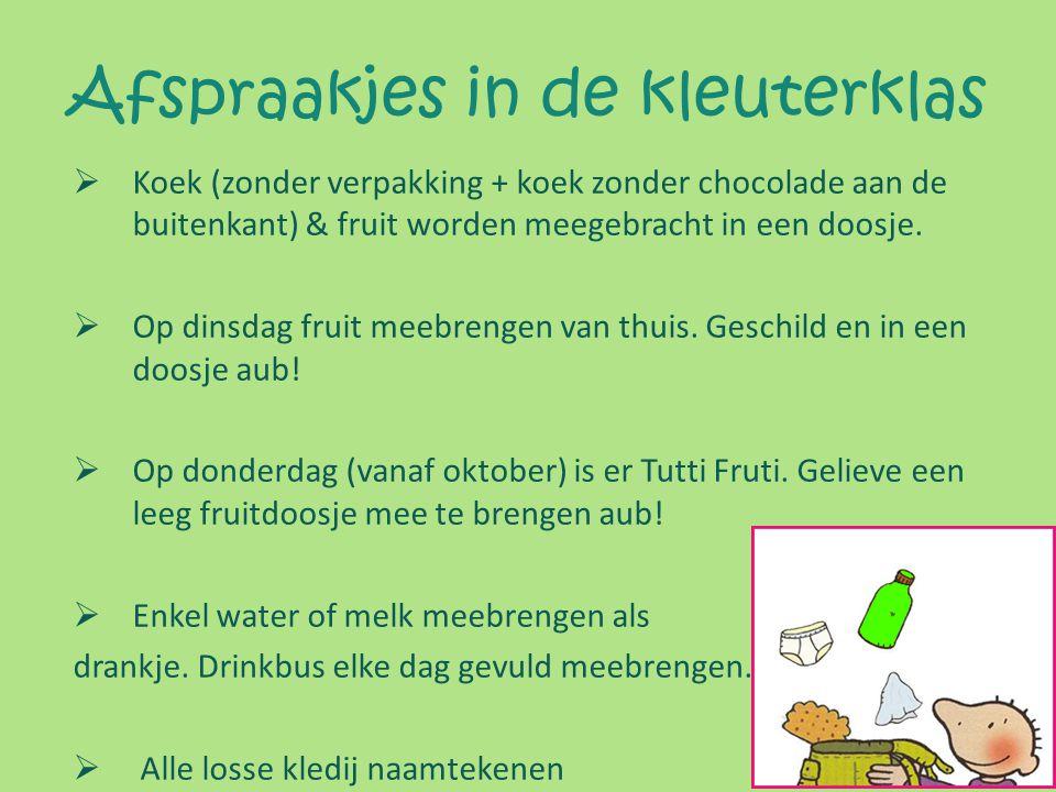 Afspraakjes in de kleuterklas  Koek (zonder verpakking + koek zonder chocolade aan de buitenkant) & fruit worden meegebracht in een doosje.