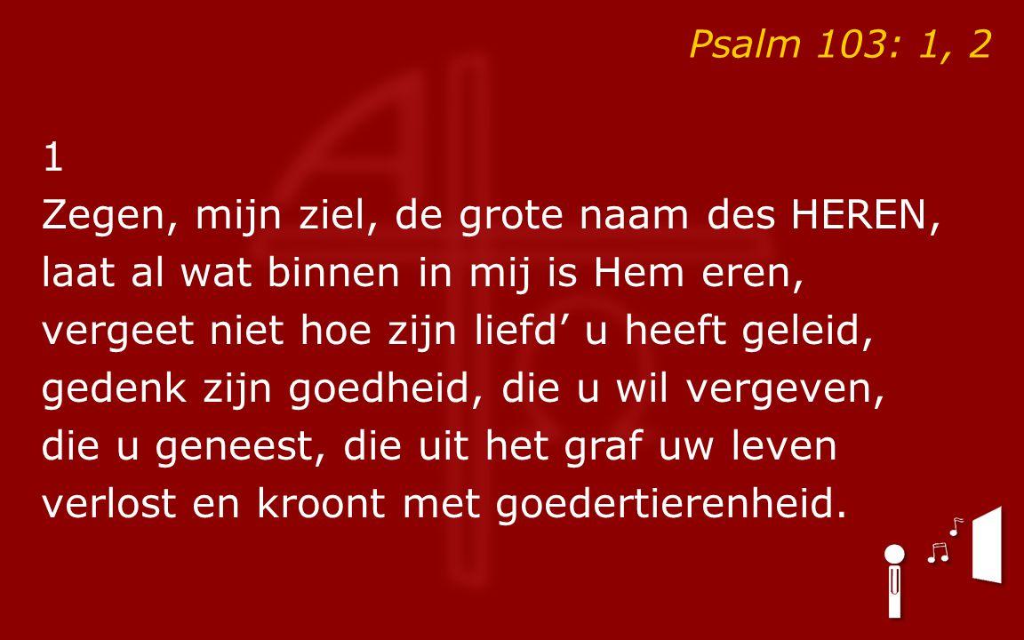 Psalm 103: 1, 2 1 Zegen, mijn ziel, de grote naam des HEREN, laat al wat binnen in mij is Hem eren, vergeet niet hoe zijn liefd' u heeft geleid, geden
