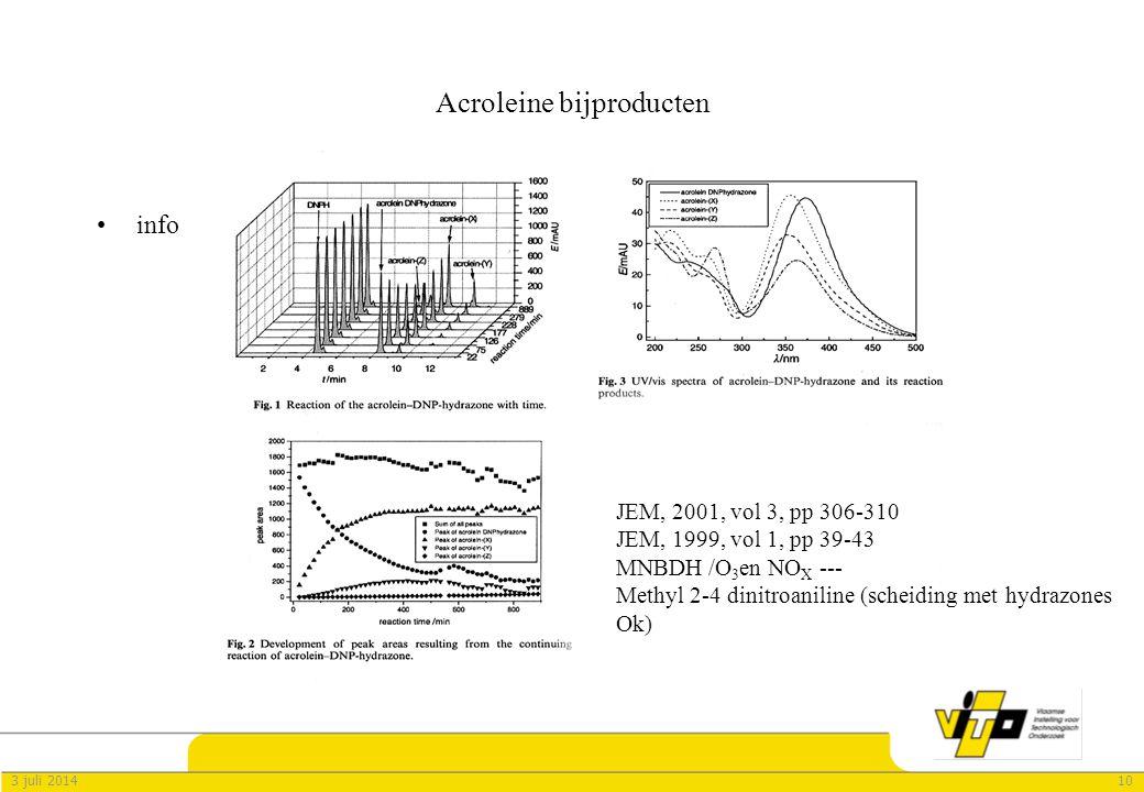 103 juli 2014 Acroleine bijproducten •info JEM, 2001, vol 3, pp 306-310 JEM, 1999, vol 1, pp 39-43 MNBDH /O 3 en NO X --- Methyl 2-4 dinitroaniline (scheiding met hydrazones Ok)