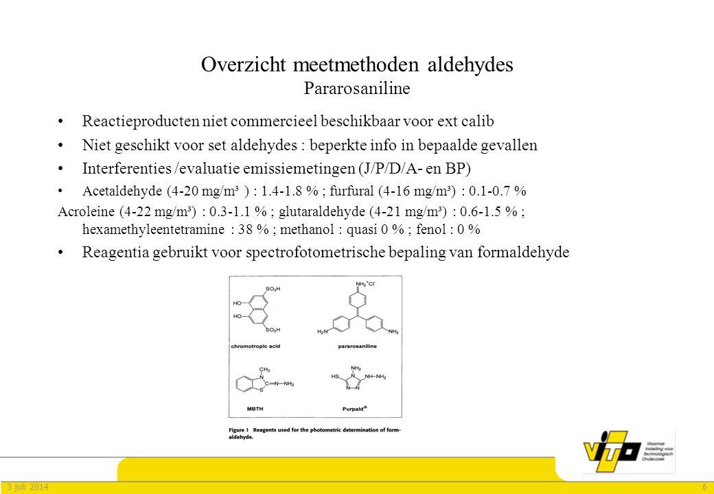 63 juli 2014 Overzicht meetmethoden aldehydes Pararosaniline •Reactieproducten niet commercieel beschikbaar voor ext calib •Niet geschikt voor set aldehydes : beperkte info in bepaalde gevallen •Interferenties /evaluatie emissiemetingen (J/P/D/A- en BP) •Acetaldehyde (4-20 mg/m³ ) : 1.4-1.8 % ; furfural (4-16 mg/m³) : 0.1-0.7 % Acroleine (4-22 mg/m³) : 0.3-1.1 % ; glutaraldehyde (4-21 mg/m³) : 0.6-1.5 % ; hexamethyleentetramine : 38 % ; methanol : quasi 0 % ; fenol : 0 % •Reagentia gebruikt voor spectrofotometrische bepaling van formaldehyde
