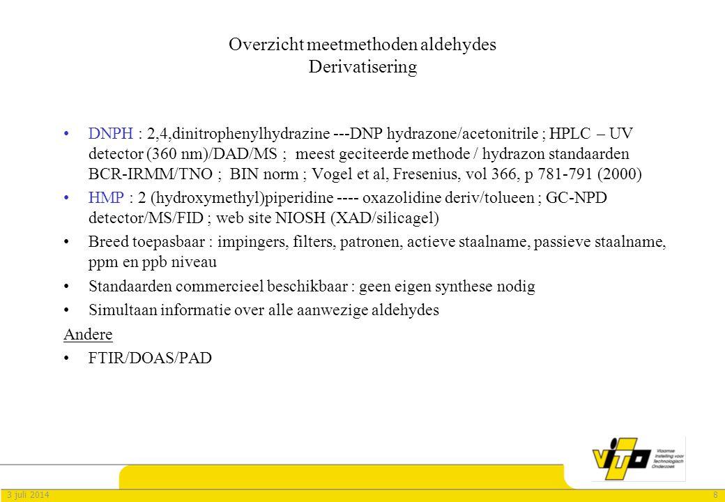 83 juli 2014 Overzicht meetmethoden aldehydes Derivatisering •DNPH : 2,4,dinitrophenylhydrazine ---DNP hydrazone/acetonitrile ; HPLC – UV detector (360 nm)/DAD/MS ; meest geciteerde methode / hydrazon standaarden BCR-IRMM/TNO ; BIN norm ; Vogel et al, Fresenius, vol 366, p 781-791 (2000) •HMP : 2 (hydroxymethyl)piperidine ---- oxazolidine deriv/tolueen ; GC-NPD detector/MS/FID ; web site NIOSH (XAD/silicagel) •Breed toepasbaar : impingers, filters, patronen, actieve staalname, passieve staalname, ppm en ppb niveau •Standaarden commercieel beschikbaar : geen eigen synthese nodig •Simultaan informatie over alle aanwezige aldehydes Andere •FTIR/DOAS/PAD