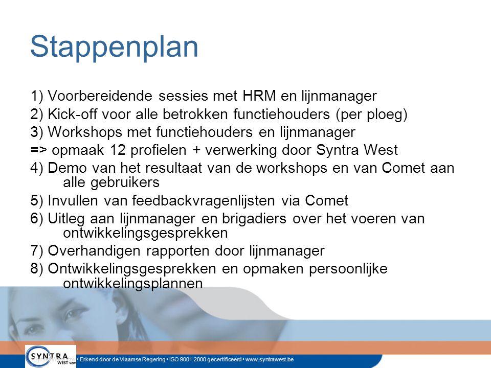 Syntra West vzw • Erkend door de Vlaamse Regering • ISO 9001:2000 gecertificeerd • www.syntrawest.be Stappenplan 1) Voorbereidende sessies met HRM en lijnmanager 2) Kick-off voor alle betrokken functiehouders (per ploeg) 3) Workshops met functiehouders en lijnmanager => opmaak 12 profielen + verwerking door Syntra West 4) Demo van het resultaat van de workshops en van Comet aan alle gebruikers 5) Invullen van feedbackvragenlijsten via Comet 6) Uitleg aan lijnmanager en brigadiers over het voeren van ontwikkelingsgesprekken 7) Overhandigen rapporten door lijnmanager 8) Ontwikkelingsgesprekken en opmaken persoonlijke ontwikkelingsplannen