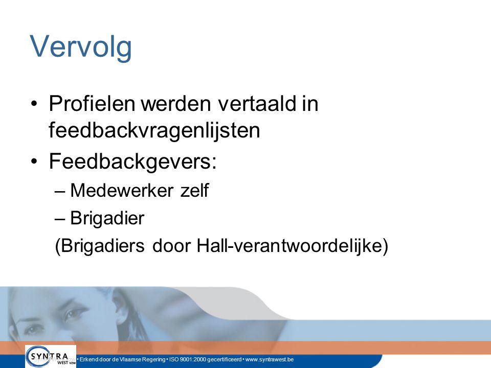 Syntra West vzw • Erkend door de Vlaamse Regering • ISO 9001:2000 gecertificeerd • www.syntrawest.be Vervolg •Profielen werden vertaald in feedbackvragenlijsten •Feedbackgevers: –Medewerker zelf –Brigadier (Brigadiers door Hall-verantwoordelijke)