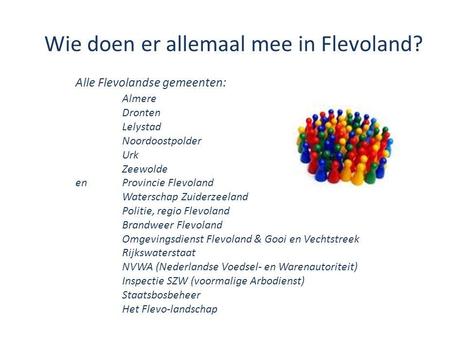 Wie doen er allemaal mee in Flevoland? Alle Flevolandse gemeenten: Almere Dronten Lelystad Noordoostpolder Urk Zeewolde enProvincie Flevoland Watersch