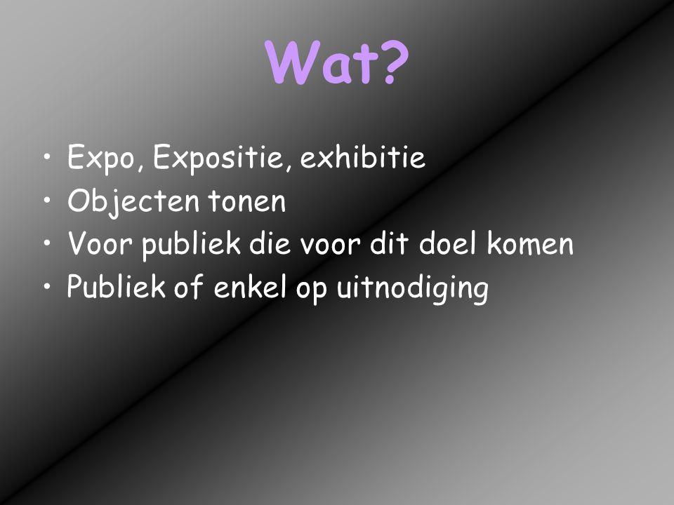 Wat? •Expo, Expositie, exhibitie •Objecten tonen •Voor publiek die voor dit doel komen •Publiek of enkel op uitnodiging