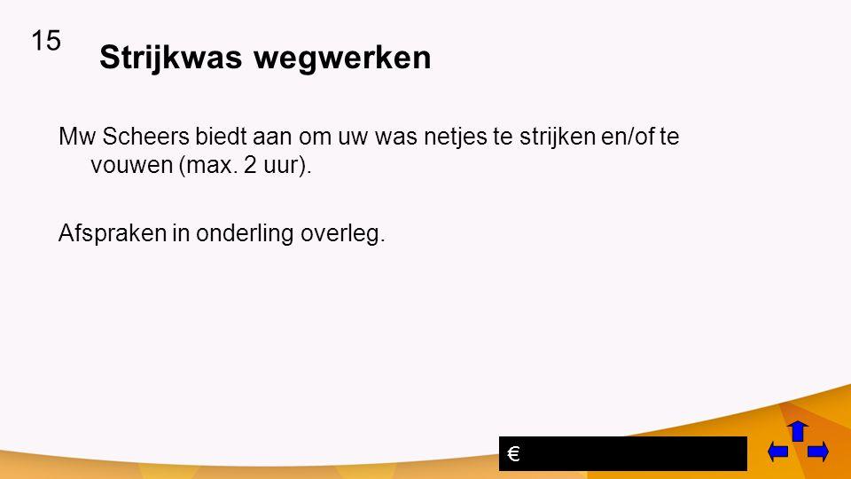 Strijkwas wegwerken Mw Scheers biedt aan om uw was netjes te strijken en/of te vouwen (max.