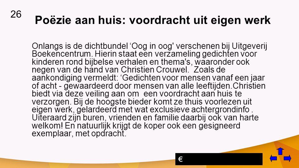 Poëzie aan huis: voordracht uit eigen werk Onlangs is de dichtbundel 'Oog in oog verschenen bij Uitgeverij Boekencentrum.