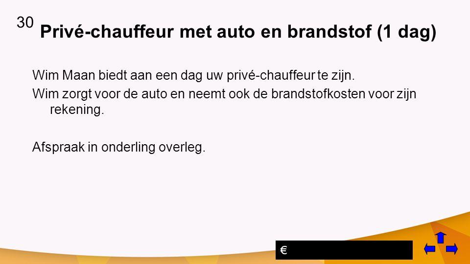 Privé-chauffeur met auto en brandstof (1 dag) Wim Maan biedt aan een dag uw privé-chauffeur te zijn.