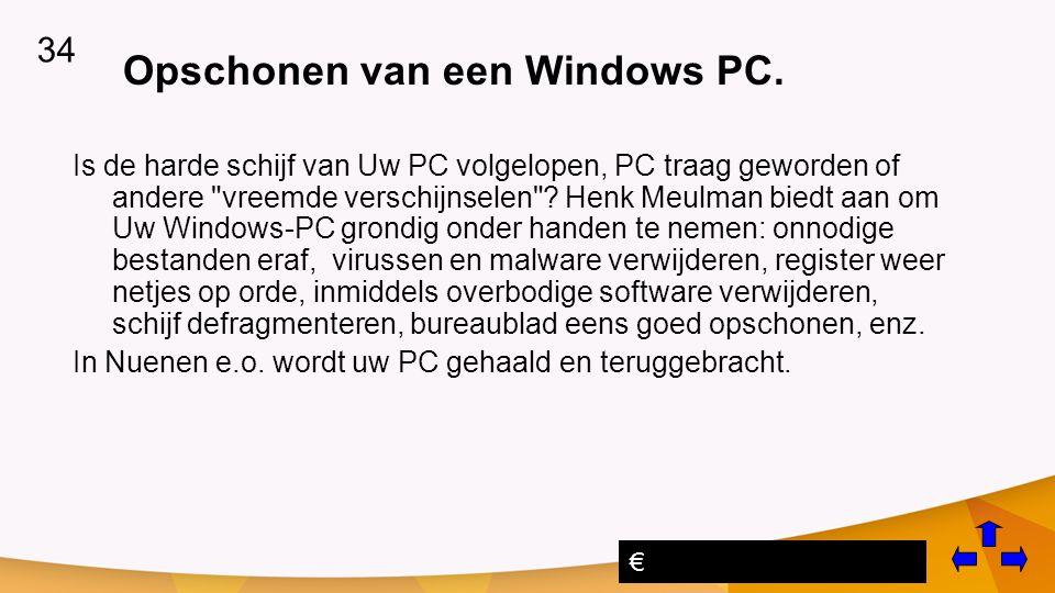 Opschonen van een Windows PC.
