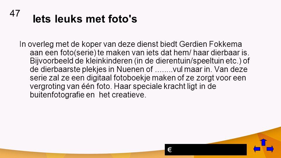 Iets leuks met foto s In overleg met de koper van deze dienst biedt Gerdien Fokkema aan een foto(serie) te maken van iets dat hem/ haar dierbaar is.