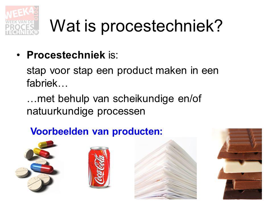 Wat is procestechniek? •Procestechniek is: stap voor stap een product maken in een fabriek… …met behulp van scheikundige en/of natuurkundige processen