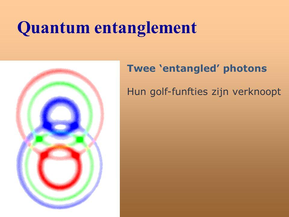 Quantum entanglement Twee 'entangled' photons Hun golf-funfties zijn verknoopt
