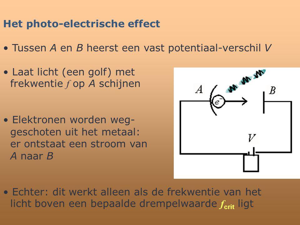 Het photo-electrische effect • Tussen A en B heerst een vast potentiaal-verschil V • Laat licht (een golf) met frekwentie f op A schijnen • Elektronen