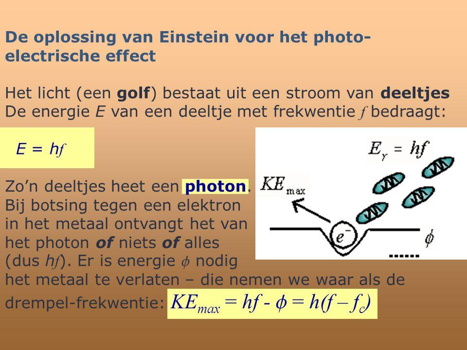 De oplossing van Einstein voor het photo- electrische effect Het licht (een golf) bestaat uit een stroom van deeltjes De energie E van een deeltje met