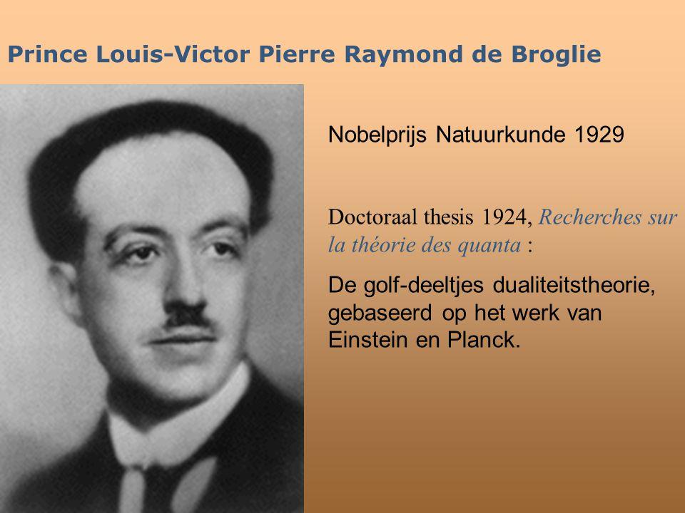 Prince Louis-Victor Pierre Raymond de Broglie Nobelprijs Natuurkunde 1929 Doctoraal thesis 1924, Recherches sur la théorie des quanta : De golf-deeltj
