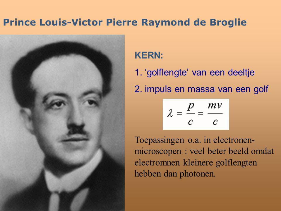 Prince Louis-Victor Pierre Raymond de Broglie KERN: 1. 'golflengte' van een deeltje 2. impuls en massa van een golf Toepassingen o.a. in electronen- m