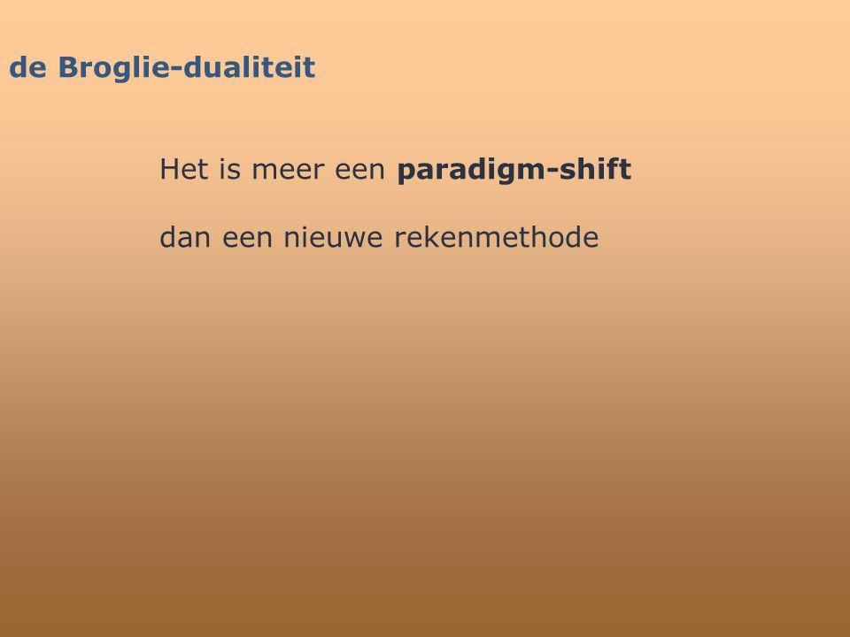 de Broglie-dualiteit Het is meer een paradigm-shift dan een nieuwe rekenmethode
