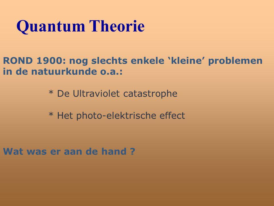 Quantum Theorie ROND 1900: nog slechts enkele 'kleine' problemen in de natuurkunde o.a.: * De Ultraviolet catastrophe * Het photo-elektrische effect W