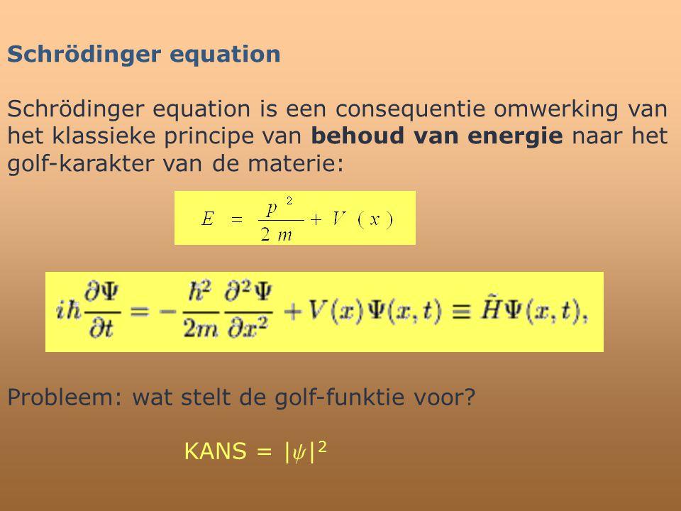 Schrödinger equation Schrödinger equation is een consequentie omwerking van het klassieke principe van behoud van energie naar het golf-karakter van d