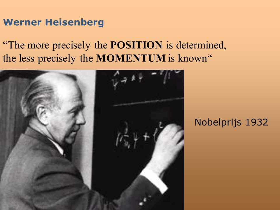 "Werner Heisenberg ""The more precisely the POSITION is determined, the less precisely the MOMENTUM is known"" Nobelprijs 1932"