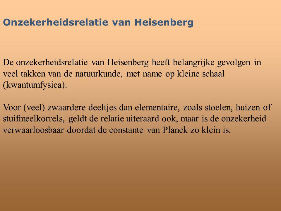 Onzekerheidsrelatie van Heisenberg De onzekerheidsrelatie van Heisenberg heeft belangrijke gevolgen in veel takken van de natuurkunde, met name op kle