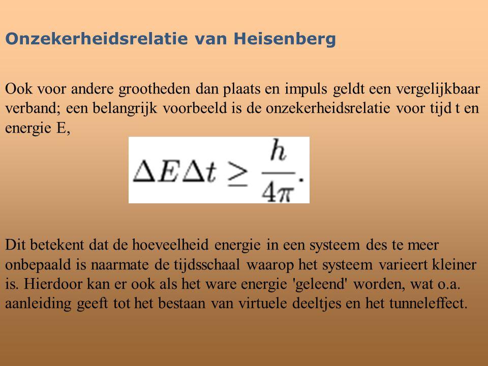 Onzekerheidsrelatie van Heisenberg Ook voor andere grootheden dan plaats en impuls geldt een vergelijkbaar verband; een belangrijk voorbeeld is de onz
