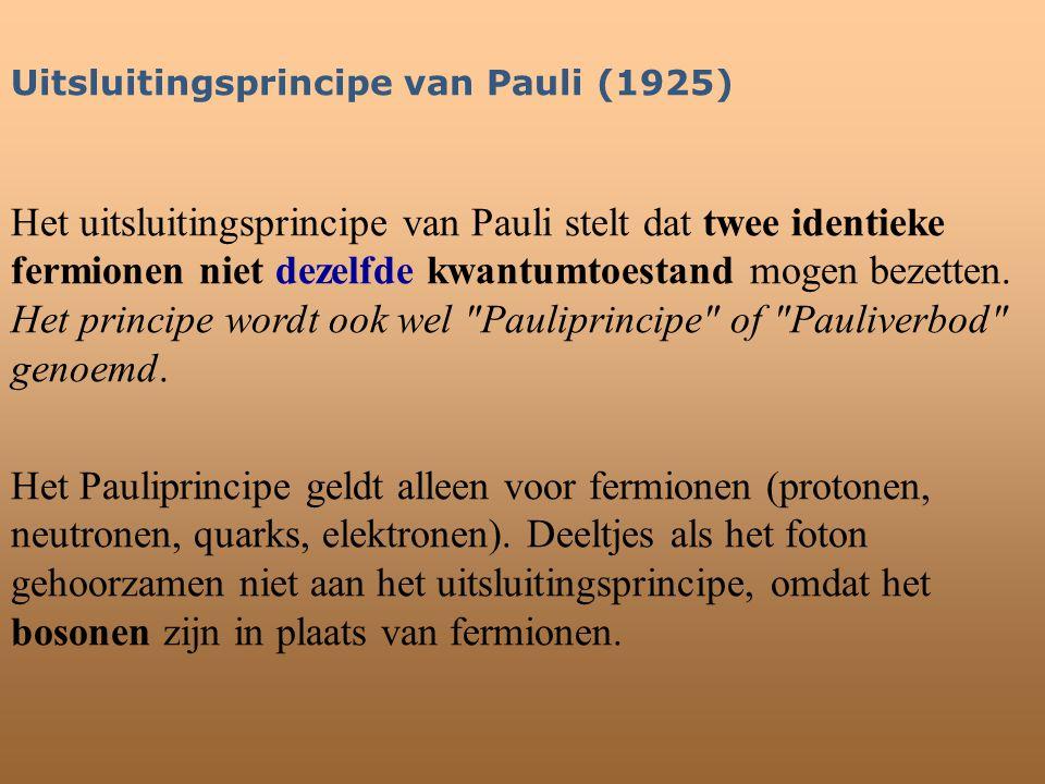Uitsluitingsprincipe van Pauli (1925) Het uitsluitingsprincipe van Pauli stelt dat twee identieke fermionen niet dezelfde kwantumtoestand mogen bezett