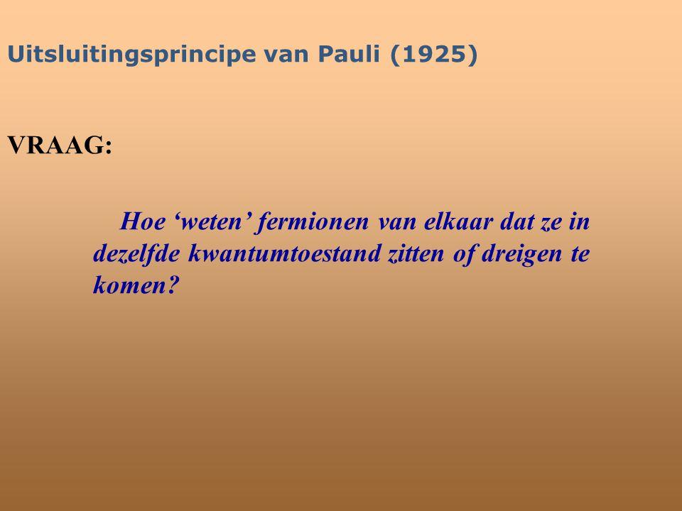 Uitsluitingsprincipe van Pauli (1925) VRAAG: Hoe 'weten' fermionen van elkaar dat ze in dezelfde kwantumtoestand zitten of dreigen te komen?