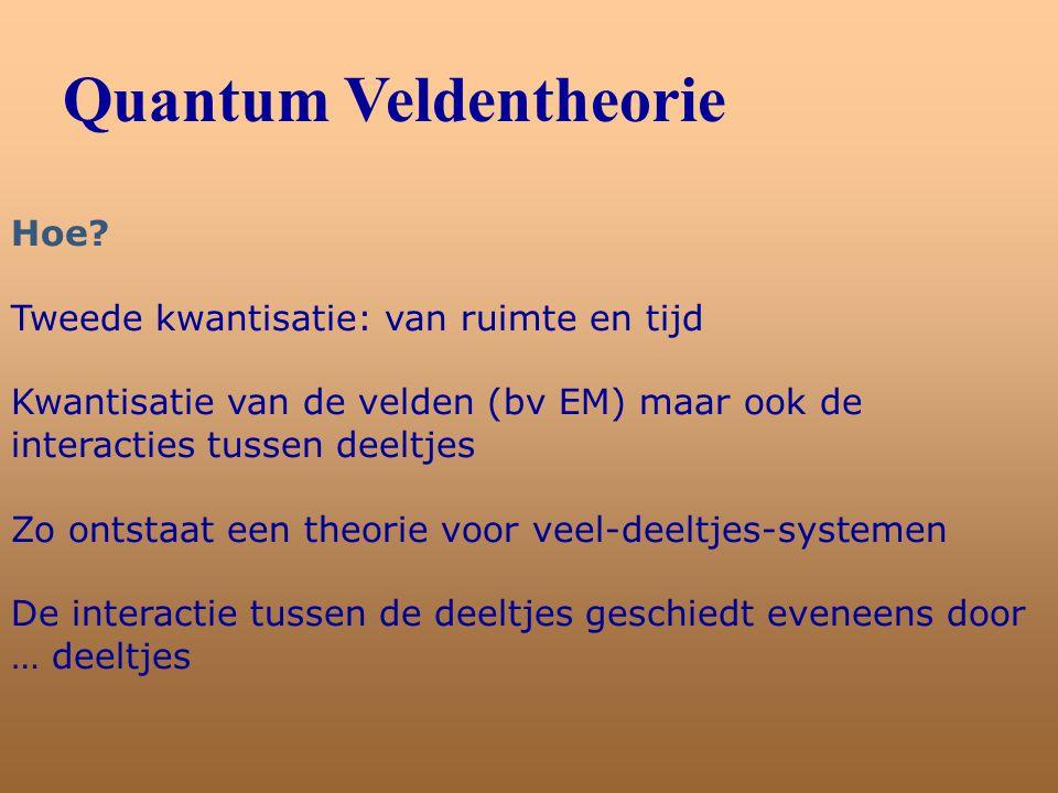 Quantum Veldentheorie Hoe? Tweede kwantisatie: van ruimte en tijd Kwantisatie van de velden (bv EM) maar ook de interacties tussen deeltjes Zo ontstaa