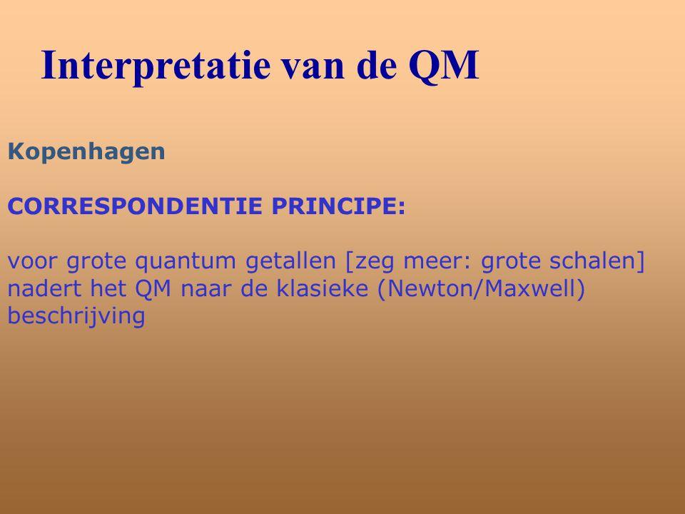 Interpretatie van de QM Kopenhagen CORRESPONDENTIE PRINCIPE: voor grote quantum getallen [zeg meer: grote schalen] nadert het QM naar de klasieke (New