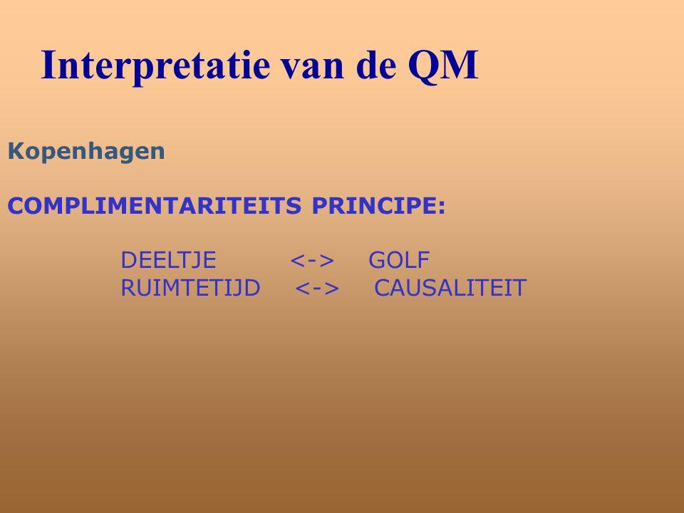 Interpretatie van de QM Kopenhagen COMPLIMENTARITEITS PRINCIPE: DEELTJE GOLF RUIMTETIJD CAUSALITEIT