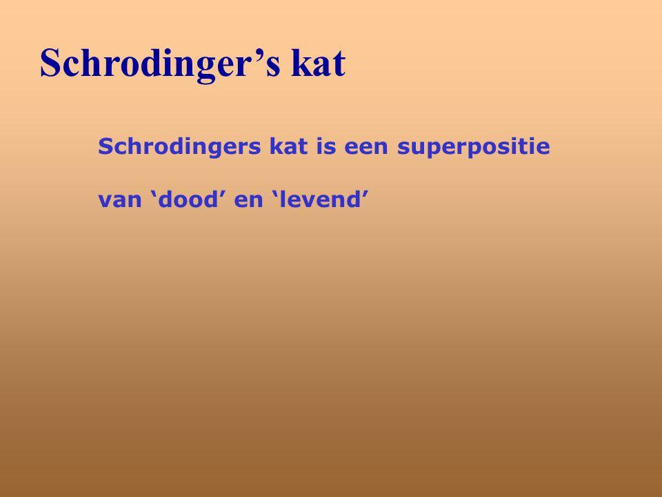 Schrodinger's kat Schrodingers kat is een superpositie van 'dood' en 'levend'