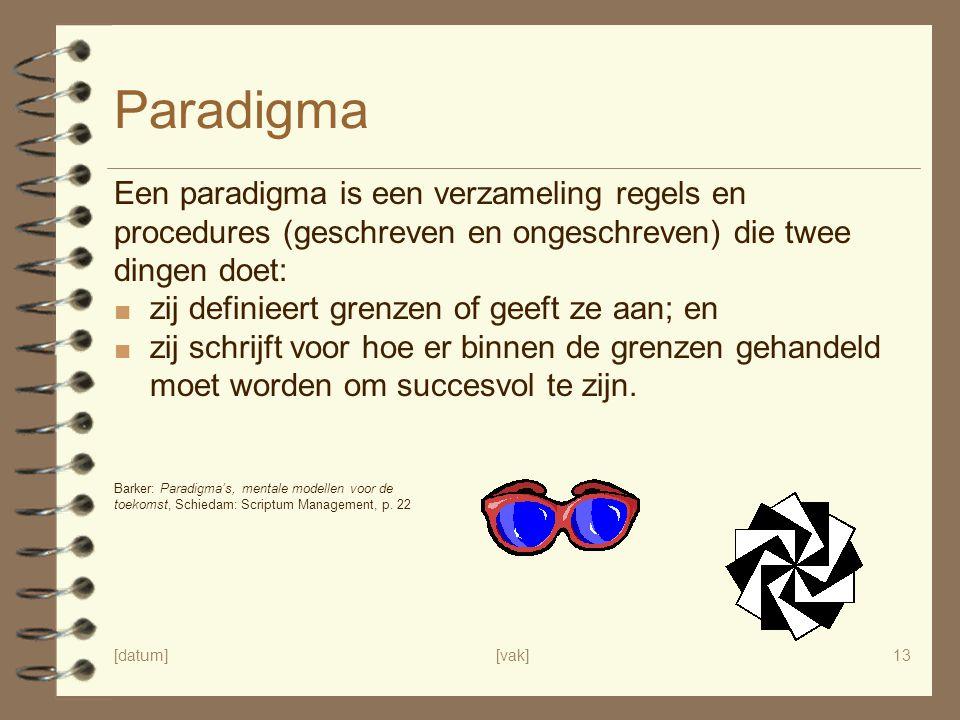 [datum][vak]13 Paradigma Een paradigma is een verzameling regels en procedures (geschreven en ongeschreven) die twee dingen doet: ■ zij definieert gre