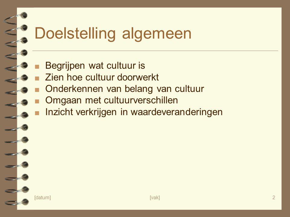 [datum][vak]2 Doelstelling algemeen ■ Begrijpen wat cultuur is ■ Zien hoe cultuur doorwerkt ■ Onderkennen van belang van cultuur ■ Omgaan met cultuurv