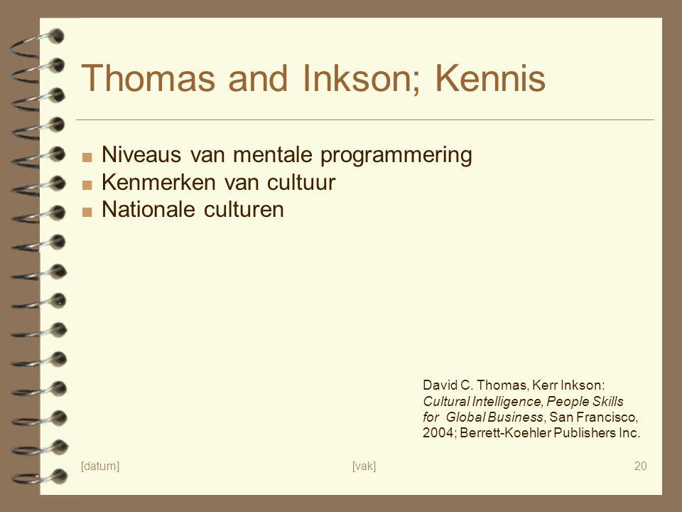 [datum][vak]20 Thomas and Inkson; Kennis ■ Niveaus van mentale programmering ■ Kenmerken van cultuur ■ Nationale culturen David C. Thomas, Kerr Inkson