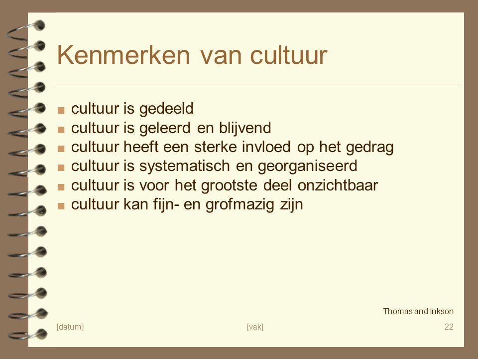 [datum][vak]22 Kenmerken van cultuur ■ cultuur is gedeeld ■ cultuur is geleerd en blijvend ■ cultuur heeft een sterke invloed op het gedrag ■ cultuur
