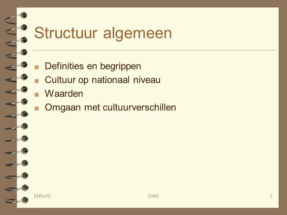 [datum][vak]3 Structuur algemeen ■ Definities en begrippen ■ Cultuur op nationaal niveau ■ Waarden ■ Omgaan met cultuurverschillen