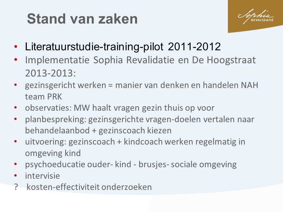 Stand van zaken •Literatuurstudie-training-pilot 2011-2012 • Implementatie Sophia Revalidatie en De Hoogstraat 2013-2013: • gezinsgericht werken = man