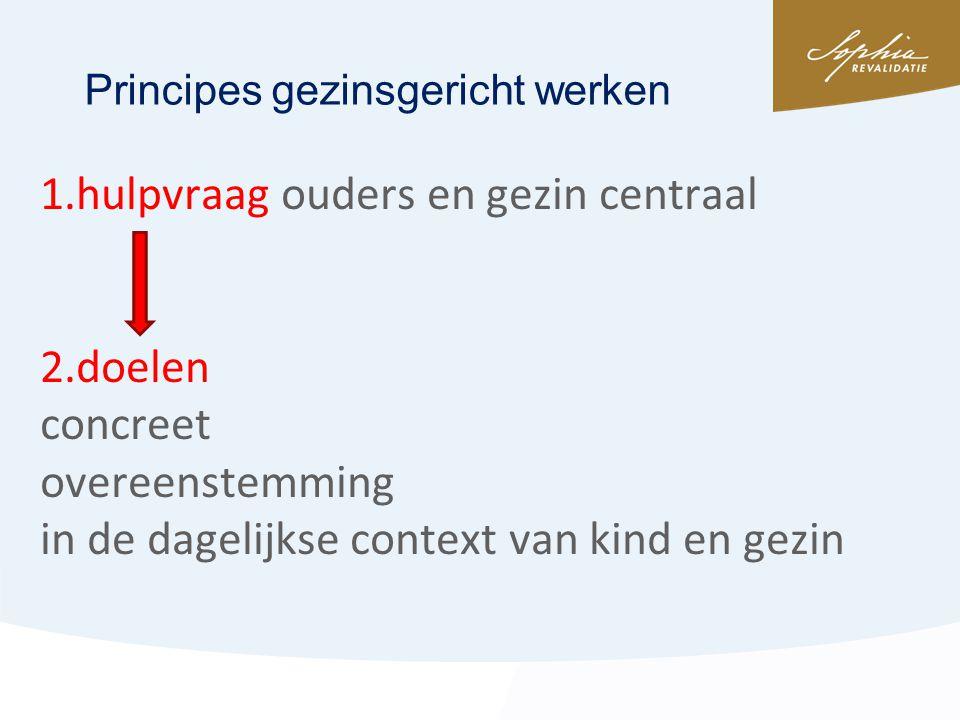 1.hulpvraag ouders en gezin centraal 2.doelen concreet overeenstemming in de dagelijkse context van kind en gezin Principes gezinsgericht werken