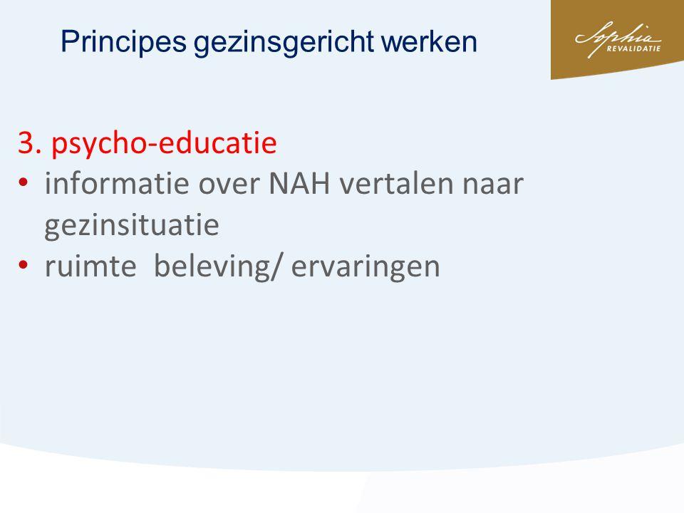 3. psycho-educatie • informatie over NAH vertalen naar gezinsituatie • ruimte beleving/ ervaringen Principes gezinsgericht werken