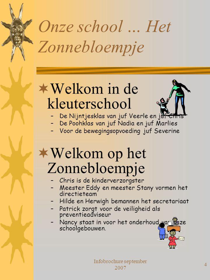 Infobrochure september 2007 4 Onze school … Het Zonnebloempje  Welkom in de kleuterschool –De Nijntjesklas van juf Veerle en juf Chris –De Poohklas v