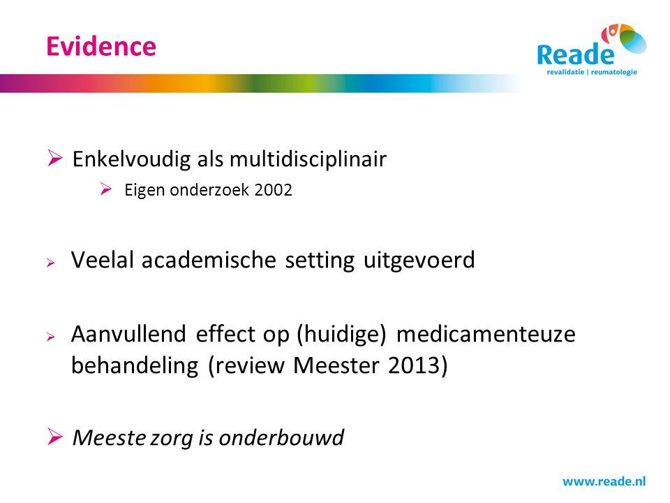Evidence  Enkelvoudig als multidisciplinair  Eigen onderzoek 2002  Veelal academische setting uitgevoerd  Aanvullend effect op (huidige) medicamenteuze behandeling (review Meester 2013)  Meeste zorg is onderbouwd